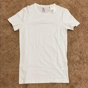 NWT Men basic white H&M cotton round neck XS shirt